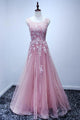 Fashion Pink Scoop Neck Backless Tulle Prom Dress Evening Dresses With Appliques - EVERISA