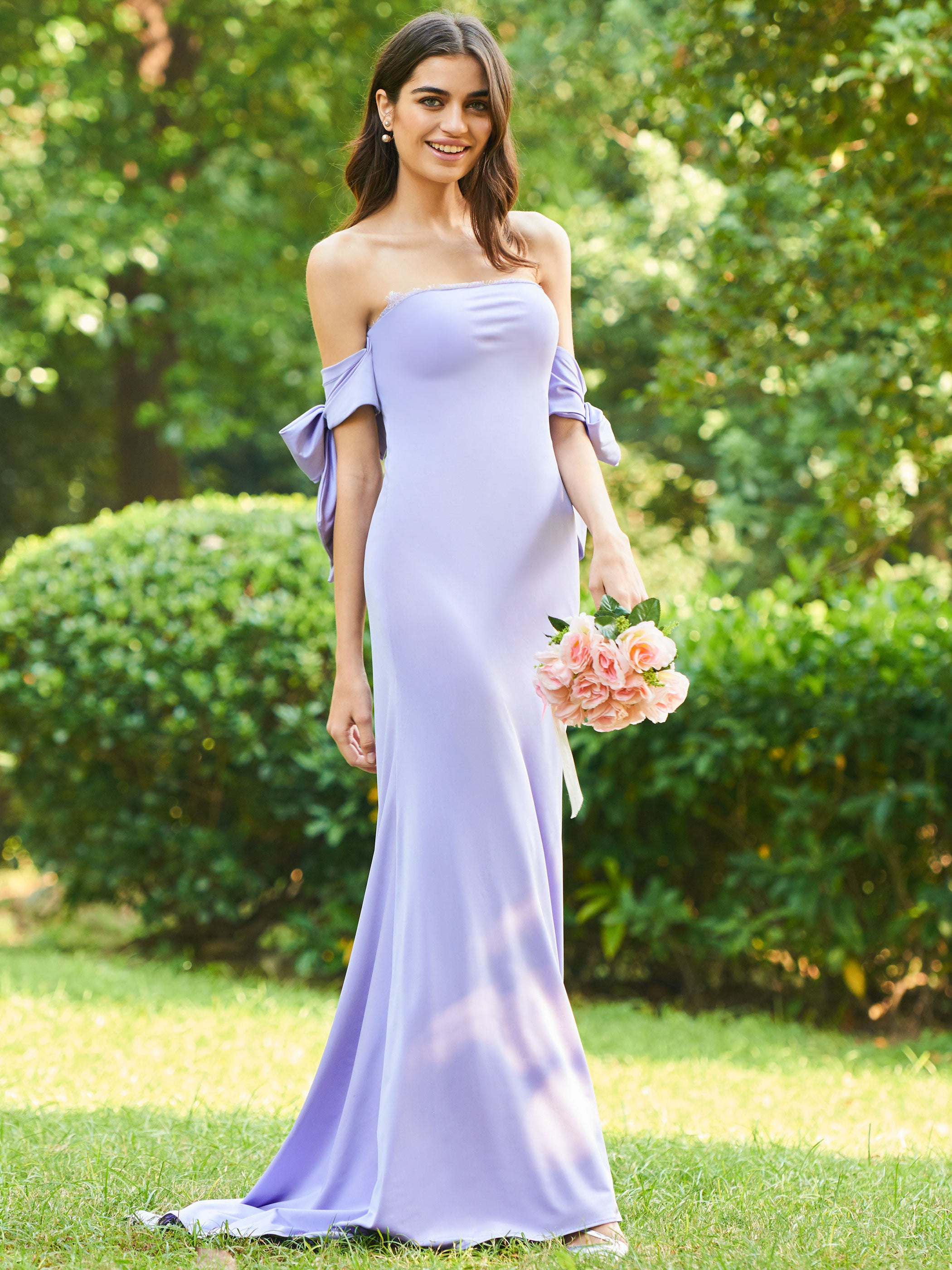 db19cf8bdb8 Lavender Strapless Off Shoulder Backless Bridesmaid Dresses With Lace