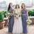 Dark Grey One Shoulder Sleeveless Ruffles Chiffon Bridesmaid Dresses