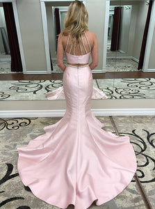 Pink Two Piece Sleeveless Backless Mermaid Prom Dresses With Beading