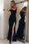 Simple Black Off Shoulder Side Slit Satin Evening Dresses Long Prom Dresses - EVERISA