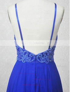 Royal Blue Halter Sleeveless Backless Long Prom Dresses Beaded Evening Dresses