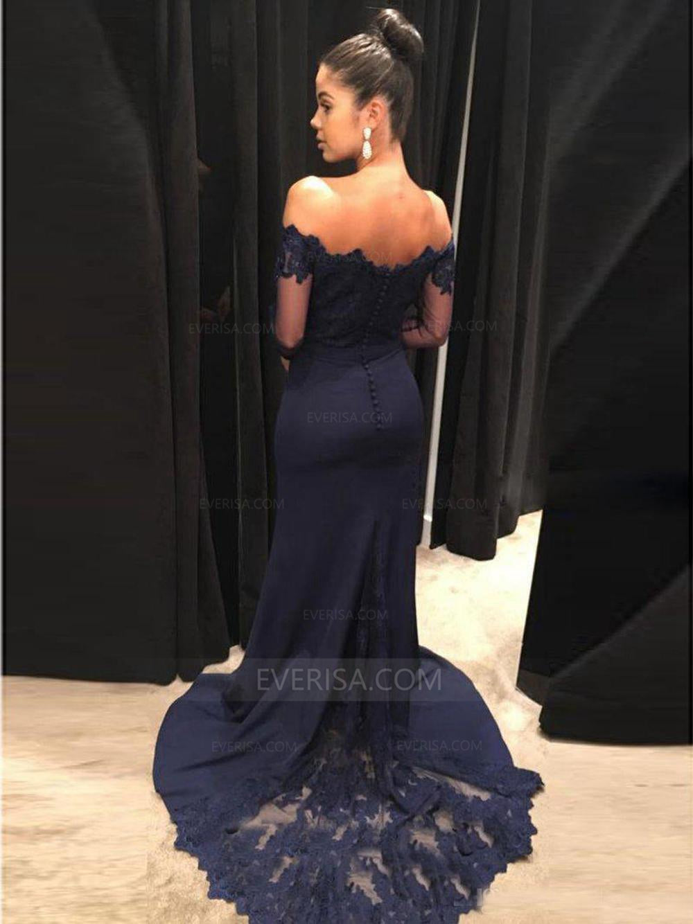93cec3299d4f Sexy Long Sleeves Open Back Mermaid Evening Dresses Long Prom Dresses -  EVERISA
