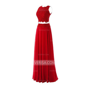 Chiffon Prom Dresses Two Pieces Sleeveless Long Evening Dresses With Beaded