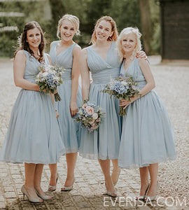 Unique light steel blue V Neck short chiffon bridesmaides dresses  Prom dresses