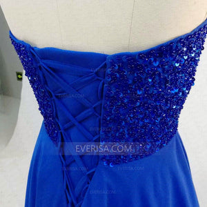 Blue Sleeveless Open Back Chiffon Prom Dresses Long Evening Dresses