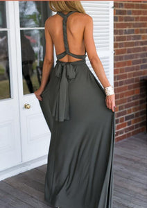 Deep Grey Multiway,Infinity Bridesmaids Dress,Long Convertable Dress
