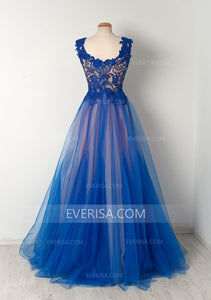 Blue Sleeveless Lace Appliques Prom Dresses Long A Line Evening Dresses