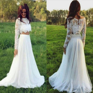 Two Piece Long Sleeve Lace Wedding Dresses A Line Chiffon Bridal Gown