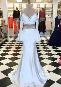 Unique Two Piece V Neck Long Sleeve Prom Dresses Mermaid Evening Dresses