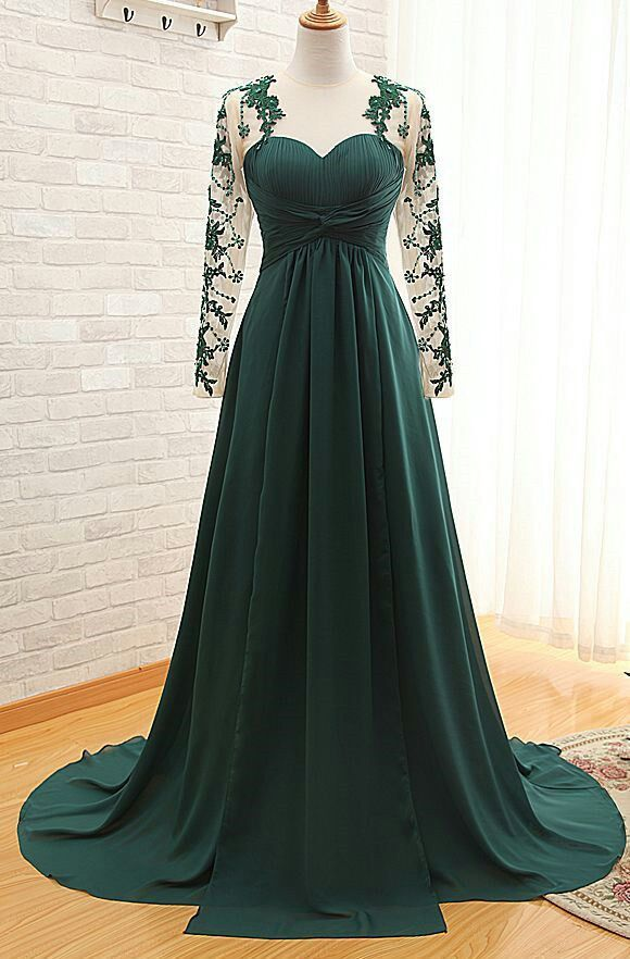 Emerald Green Sweetheart Long Sleeve Prom Dresses Lace Evening