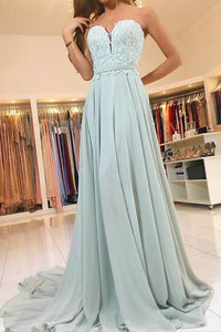 Luxury Tiffany Blue Sweetheart Sleeveless Chiffon Prom Dresses Evening Dress With Lace - EVERISA
