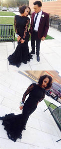 Black Long Sleeve Lace Prom Dresses Mermaid Evening Dresses