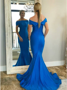 Blue Off Shoulder Sleeveless Satin Prom Dresses Mermaid Evening Dresses