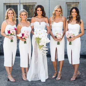 White Sweetheart Sleeveless Front Split Tea-Length Bridesmaid Dresses