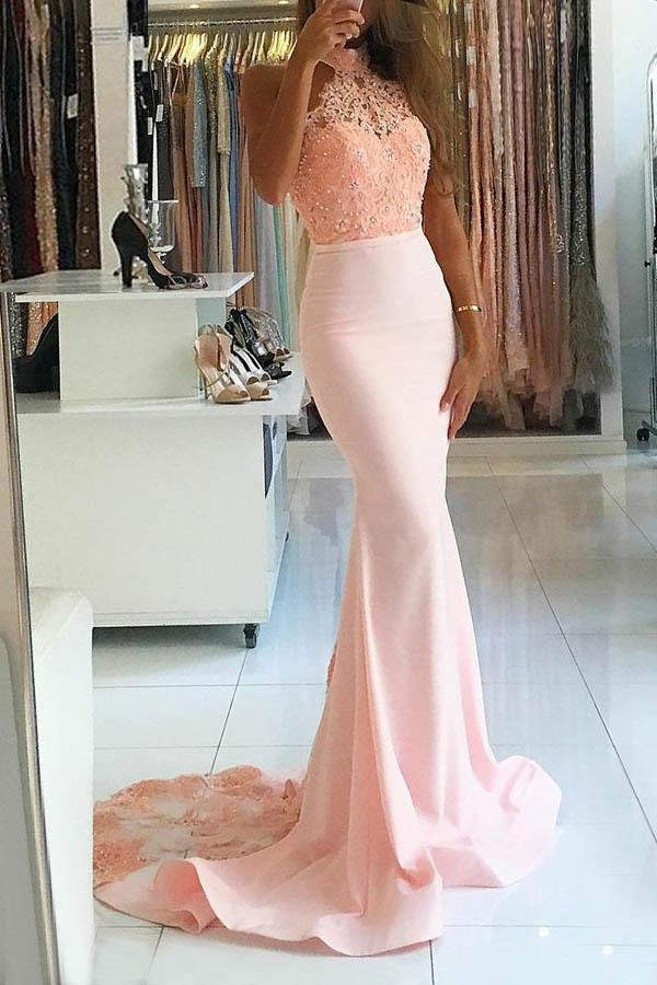 ab560024bcc4 Elegant Pink Mermaid Open Back Satin Evening Dresses Prom Dress With Lace  Beading - EVERISA