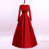 Red Round Neck Long Sleeve A Line Satin Wedding Dresses With Lace