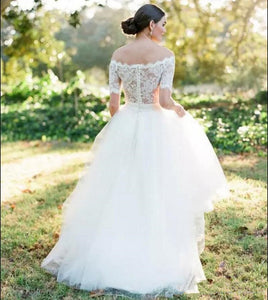 White Off Shoulder Short Sleeve Lace Wedding Dresses A Line Bridal Gown