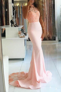 Elegant Pink Mermaid Open Back Satin Evening Dresses Prom Dress With Lace Beading - EVERISA