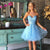 Blue Sweetheart Sleeveless Homecoming Dresses Beaded Cocktail Dresses