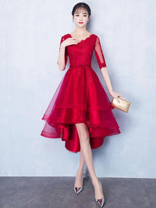Red Half Sleeve High Low Homecoming Dresses Lace Applique Cocktail Dresses