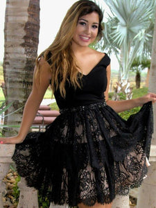 Black V Neck Sleeveless A Line Short Homecoming Dresses Lace Cocktail Dresses