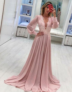 Pink V Neck Long Sleeve Lace Applique Prom Dresses Chiffon Evening Dresses