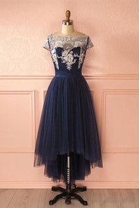 Fashion Navy Blue High Low Empire Tulle Prom Dress Evening Dress With Lace - EVERISA