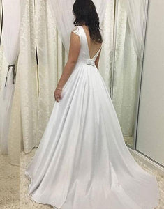 White Round Neck Cap Sleeve A Line Satin Wedding Dresses With Lace