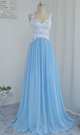 Blue Sweetheart Sleeveless A Line Prom Dresses Lace Applique Evening Dresses