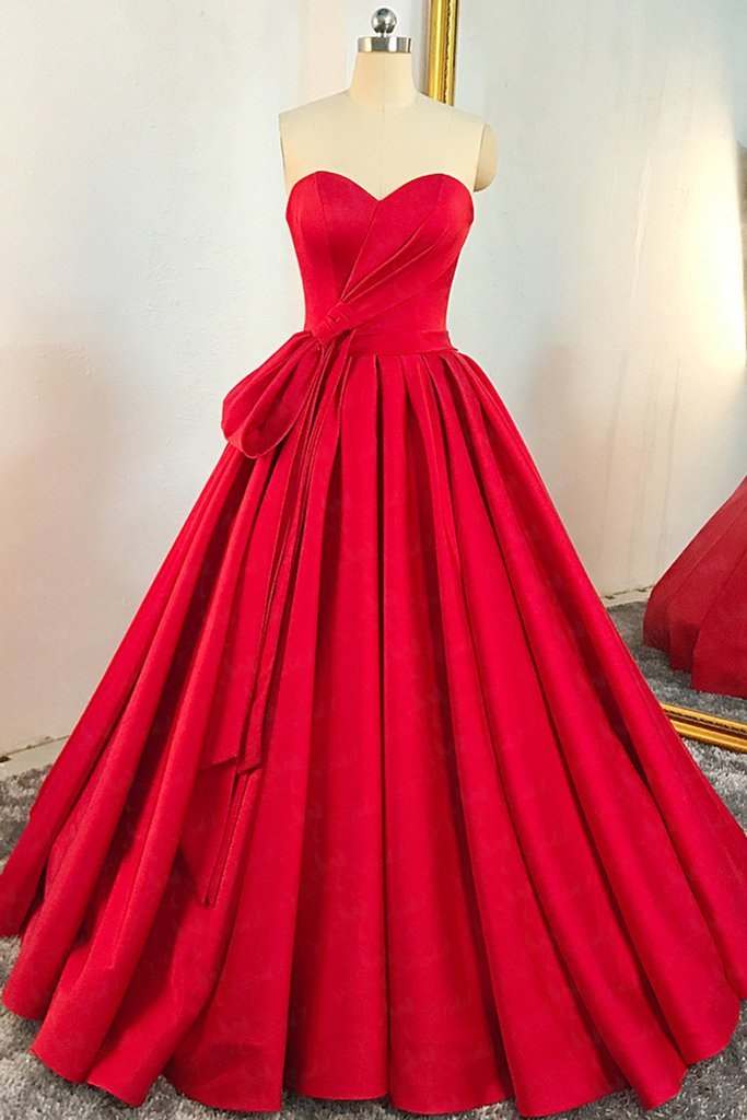 3a060b28361f Red Sweetheart Sleeveless Long Prom Dresses A Line Satin Ball Gown ...