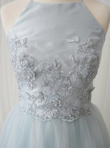 Cheap Blue Sleeveless Lace Applique A Line Tulle Short Homecoming Dresses