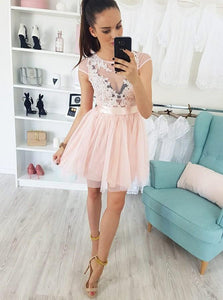 Pink Cap Sleeve A Line Short Homecoming Dresses With Lace Applique