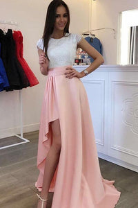 Unique Pink Scoop Neck A-line Satin Prom Dresses Long Evening Dress With Lace - EVERISA