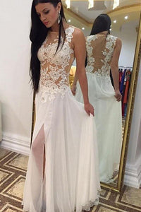 Sexy White Sleeveless Lace Applique Chiffon Prom Dress Long Evening Dresses - EVERISA