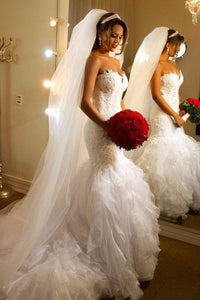 White Sweetheart Strapless Mermaid Wedding Dresses With Lace Appliques