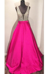 Luxury Fuchsia V-Neck Backless Satin Prom Dress Long Evening Dress With Beading - EVERISA