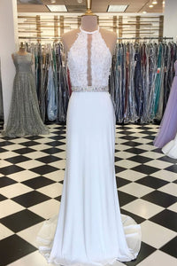 Simple White Halter Sleeveless Chiffon Prom Dresses Lace Evening Dresses - EVERISA