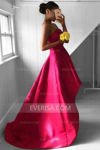 Elegant Rose Red Backless High Low Satin Prom Dresses Strapless Evening Dress - EVERISA