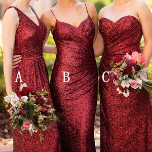 Fashion Burgundy  V Neck Floor Length Sequin Evening Dress Prom Dresses with Sleeveless