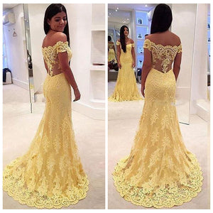 Elegant Yellow Off Shoulder Mermaid Lace Prom Dresses Long Evening Dresses - EVERISA