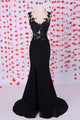 Unique Black Sweetheart Side Slit Chiffon Prom Dress Formal Dresses With Lace - EVERISA
