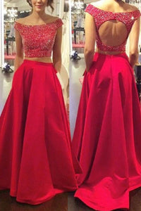 Fashion Red Off Shoulder Two Piece Satin Evening Dress Prom Dresses With Beading - EVERISA