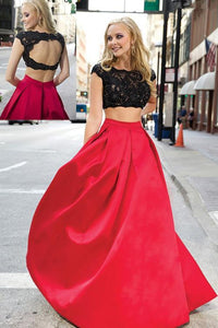 Glamorous Red Two Piece Open Back Satin Evening Dress Long Prom Dress With Lace - EVERISA
