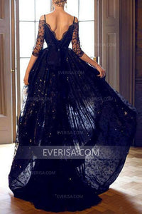 New Blue Half Sleeves High-low Lace Prom Dress Backless Evening Dress With Rhinestone - EVERISA