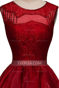 Elegant Burgundy Sleeveless High-low Organza Evening Dresses Prom Dresses - EVERISA