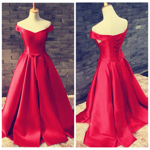 Elegant Red Off Shoulder Empire Waist Satin Prom Dress Long Evening Dress - EVERISA