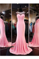 Unique Pink Scoop Neck Empire Satin Prom Dresses Slim-line Evening Dress - EVERISA