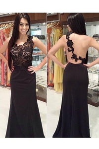 Elegant Black Sleeveless Backless Lace Prom Dress Long Evening Dresses - EVERISA