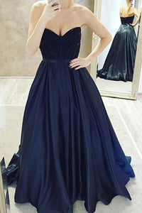 Elegant Navy Blue Sweetheart Empire Waist Satin Prom Dress Cheap Evening Dress - EVERISA
